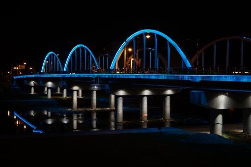 Bridge, Lights, Night View, Republic Of Korea