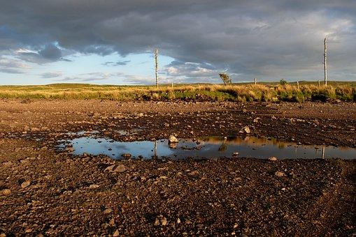 Landscape, Drained Lake, Rocks, Beach, Clouds