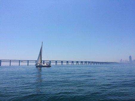 Dalian, Sea, Bridge, Sailboat