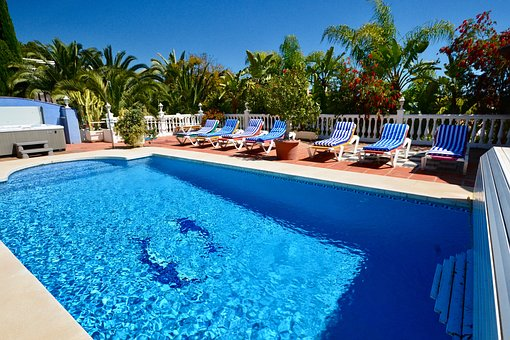 Poolside, Swimming Pool, Swimming, Holiday, Deckchairs