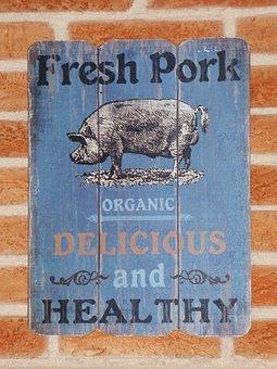 Poster, Pork Meat, Vintage, Propaganda, Typography