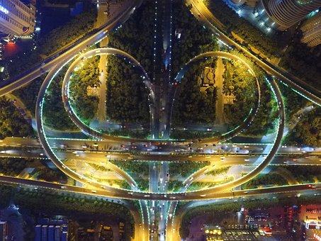 Xi'an, Xian, Dji, Weiyang Road Interchange, Aerial
