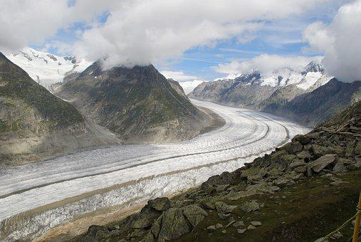 Aletsch Glacier, Snow, Mountains, Alpine