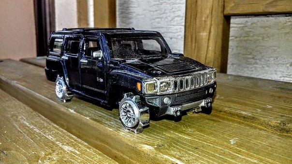 Car, Black, Hammer, Toy, Model