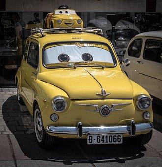 Cars, Car, Yellow, Walt Disney, Disney, Seat 600