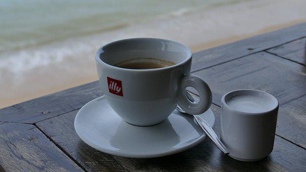 Coffee, Table, Sea, Cup, Break, Coffee Break, Breakfast