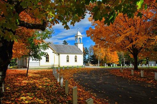 Canada, Autumn, Church, Season, Scenic, Color, Foliage