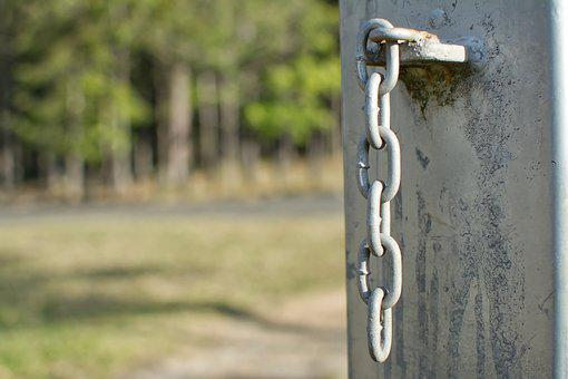 Chain, Links, Post, Fence, Metal, Linked