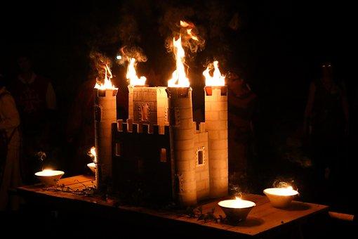 Carcassonne, Medieval, Show, Fire, Castle, Aude