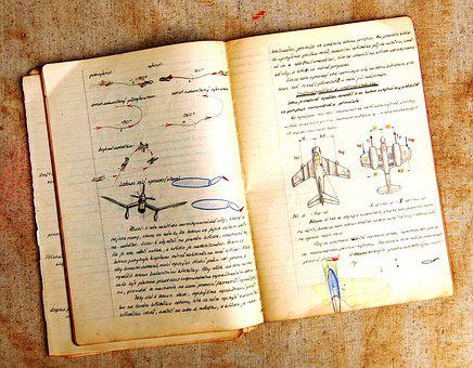 Education, Workbook, Old, School, Aviation