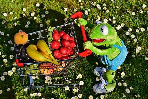 Kermit, Shopping Cart, Healthy Shopping, Fruit