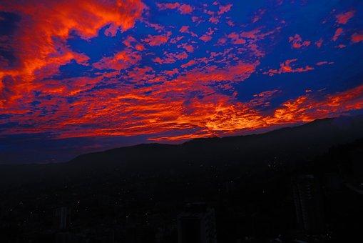 Medellín, Envigado, Dawn, Landscape, Sky, Clouds