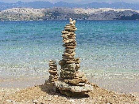 Cairn, Beach, Stone Turrets, Stones, Sea, Vacations