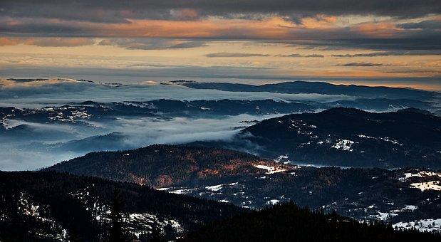 Landscape, Sunrise, Beskids, Pilsko, Poland, The Fog