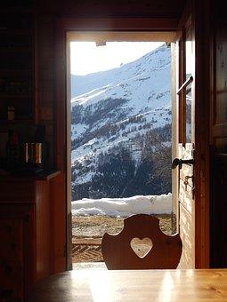 Switzerland, Chalet, Landscape, Winter