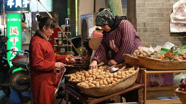 Walnut, Hijab, China, Xian, Seller, Buyer, Shopping