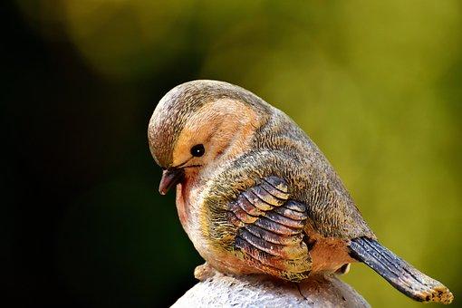 Bird, Figure, Stone, Decoration, Deco, Cute, Birdie