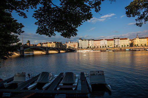 Prague, Ship, River, City, Flowing, Water, Náplavka