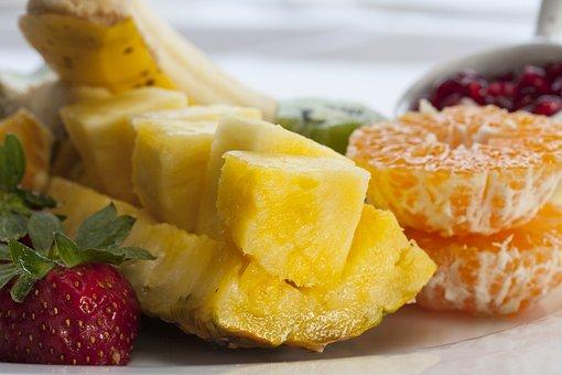 Fruit, Diet, Healthy, Pineapple, Strawberry, Tangerine