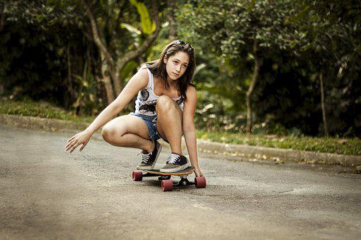 Skateboard, Girl, Woman, Sports, Sport, Donwhill