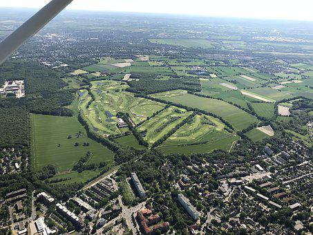 Aerial View, Golf Course, Green, Golf, Rush, Landscape