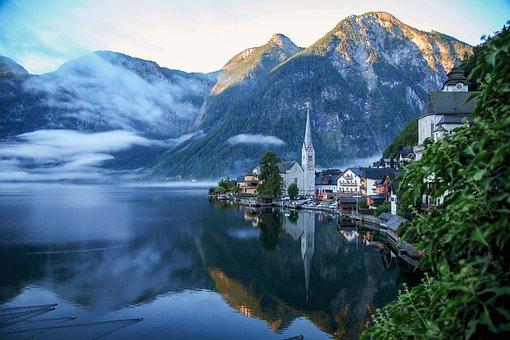 Hallstatt, Morning, Lake, Komachi, Morning Fog
