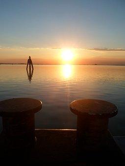 Sunset, Sea, Sun, Lagoon Of Venice, Afterglow