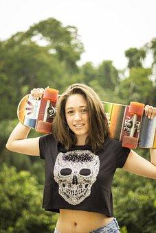Skateboard, Model, Girl, Gilr
