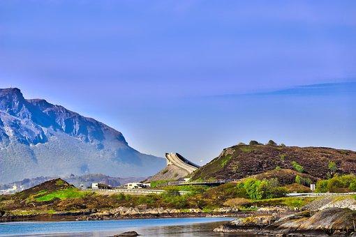 Bridge, Sky, Clouds, Landscape, View, Water, Norway