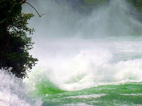 Rhine Falls, Waterfall, Spray, Roaring, Foaming
