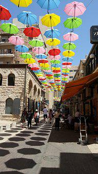 Jerusalem, Umbrellas, Street