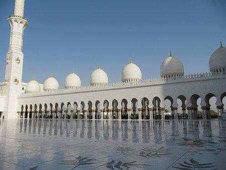 Hof, Mosque, Beautiful, White, Marble, Minaret