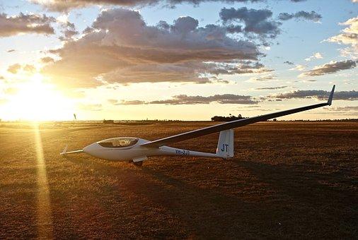 Glider, Sunset, Sailplane, Fun, Aircraft, Freedom