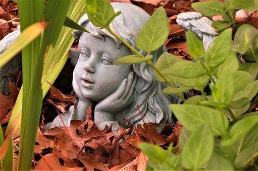 Angel, Statue, Garden, Fall, Blue