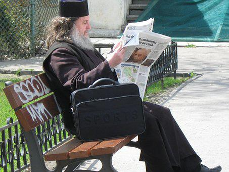 Man, Old, Reading, Sitting, Newspaper, Old Man, Beard