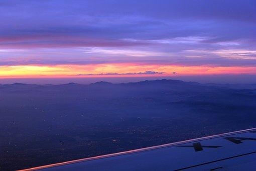Dawn, Plane, Horizon, Sky, Aircraft, Clouds, Blue