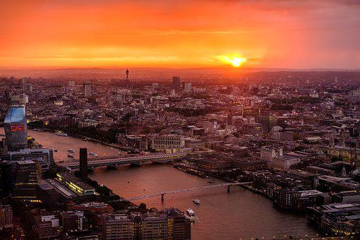 London, Skyline, Sunset, River, Buildings, Shard