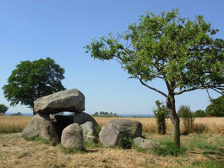 Stone Grave, Cornfield, Field, Summer, Sun, Religion