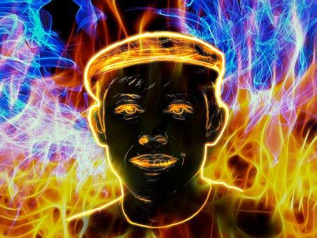 Man, Portrait, Face, Flame, Fire, Heat, Brand, Hot