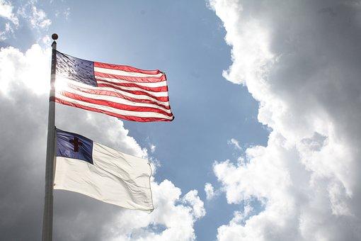 Blue, Christ, Christian, Clouds, Cross, Flag, God