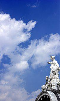 Sculputure, Blue, Greek, Mexico, Sky, Clouds, Landscape
