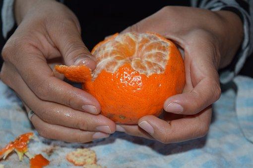 Orange, Tangerine, Peel, Shell, Hands, Fruit, Vegetable
