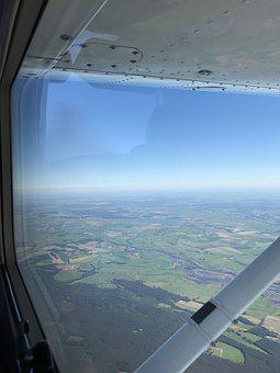 Aircraft Window, Outlook, Sky, Blue, Green, Strut, Wing