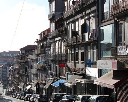 Road, Houses, Facade, Balconies, Architecture, Awning