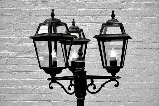 Lamp, Old, Vintage, Glass, Light, Electric, Black