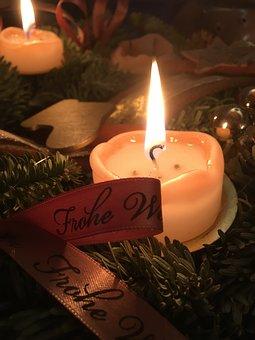Candle, Christmas, Ribbon, Christmas Candles, Xmas