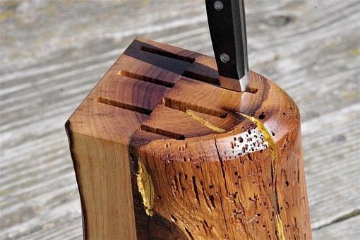 Knife Block, Wood, Noble, Gold Leaf, Antique Oak