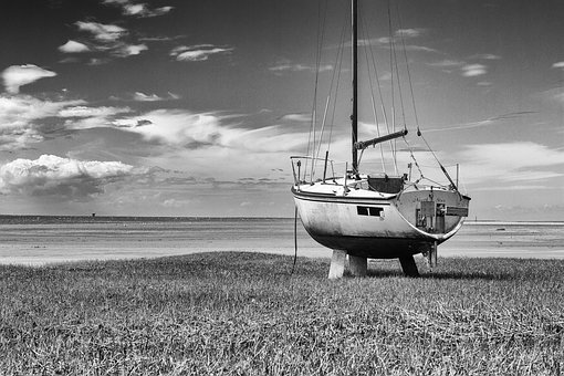 Abandoned, Boat, B W