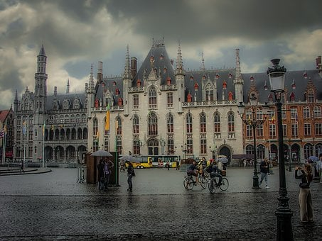 Bruges, Belgium, Rain, Rainy, Day, Umbrellas, Tourism