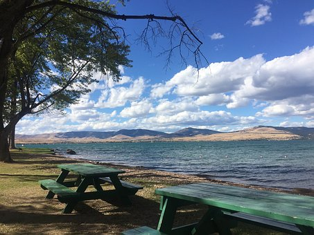 Flathead Lake, Summer, Picnic, Montana, Water, Clouds